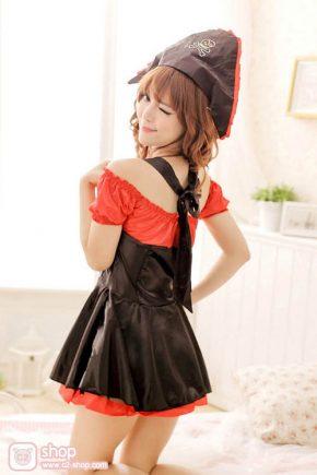 ชุดโจรสลัดแฟนซีสาวสวยสีดำแดง