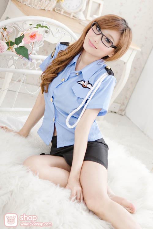 ชุดตำรวจหญิงแฟนซีฟ้าดำสวยฝุด
