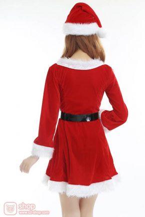 ชุดซานตี้สีแดงตัดขอบขาวแขนยาวสไตล์เดรสสุดน่ารัก