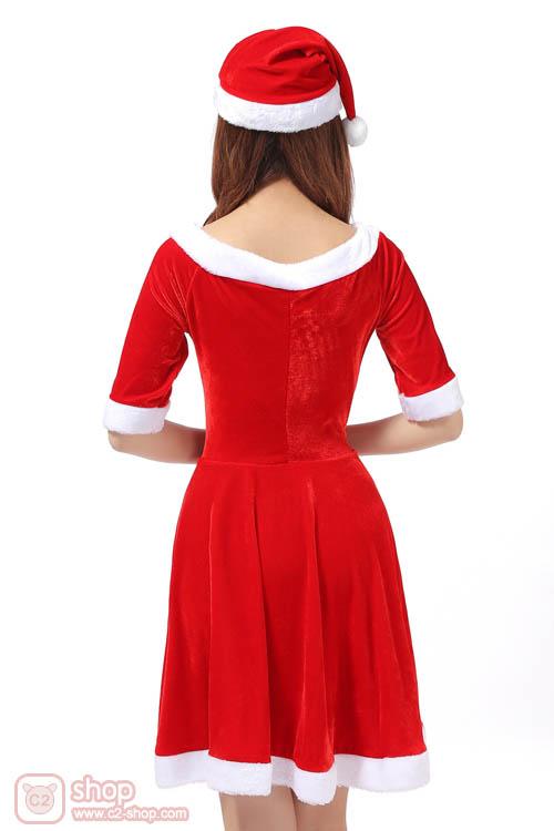 ชุดแฟนซีปีใหม่แซนตี้สีแดงคอวีแขนสามส่วนสวยหวาน