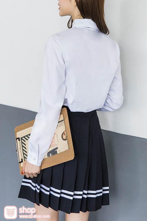 ชุดนักเรียนเกาหลีผู้หญิงแขนยาวคอบัวโบว์สีน้ำเงินกระโปรงสีดำ