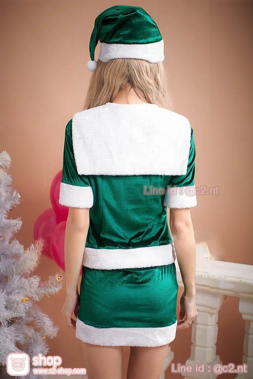 ชุดแซนตี้สีเขียวตัดสีขาวคอปกทหารเรือมาในแบบชุดเสื้อ+กระโปรงผ้ากำมะหยี่สุดเงาวั๊บสวยแฟนซีคอสเพลย์