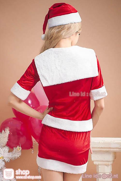 ชุดแซนตี้สีแดงตัดสีขาวคอปกทหารเรือมาในแบบชุดเสื้อ+กระโปรงผ้ากำมะหยี่สุดเงาวั๊บสวยแฟนซีคอสเพลย์