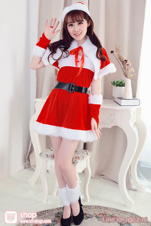ชุดคริสมาสต์ซานตี้สาวสีแดงมาพร้อมเสื้อคลุมไหล่และพร็อพน่ารักที่เข้ากับชุด