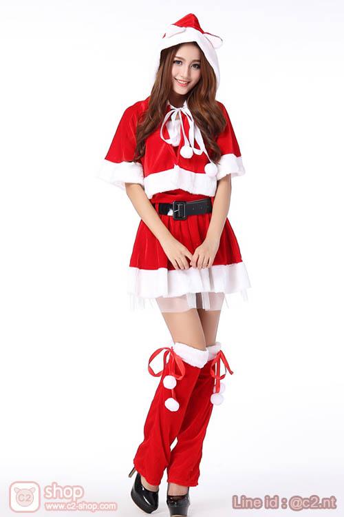 ชุดแฟนซีซานตี้แบบน่ารักน่าหยิกโทนสีแดงเข้ากับวันคริสต์มาสความสุขที่อบอุ่น