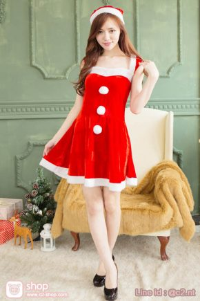 ชุดวันคริสมาสผู้หญิงสวยน่ารักเรียบร้อย