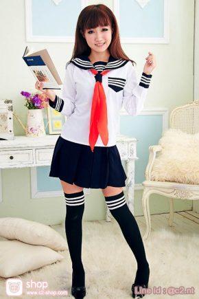 แฟชั่นชุดนักเรียนญี่ปุ่นแฟนซีคอสเพลย์เสื้อสีขาวปกทหารเรือสีกรมกระโปรงสีกรม