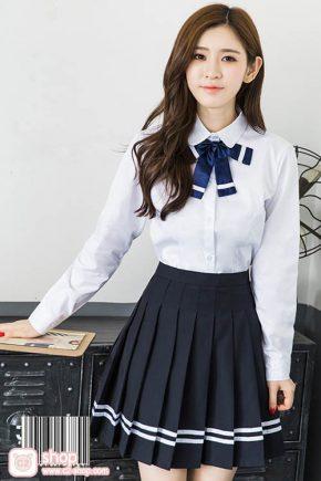 ชุดนักเรียนเกาหลีผู้หญิงแขนยาวคอบัวโบว์สีกรมกระโปรงสีดำ