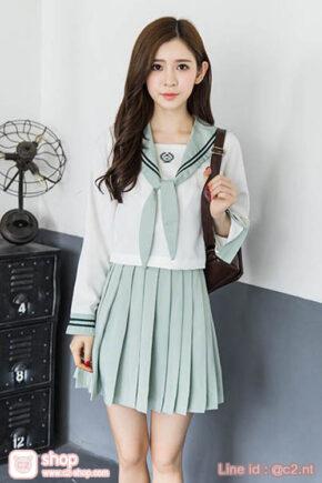 ชุดนักเรียนเกาหลีเสื้อสีขาวครีมแขนยาวปกและกระโปรงสีเขียวอ่อน