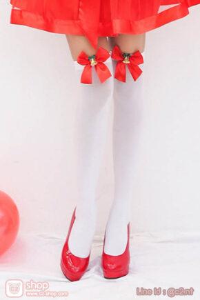 ถุงเท้าแฟนซีคริสต์มาสสีขาวติดโบว์กระดิ่งกริ๊งๆน่ารัก