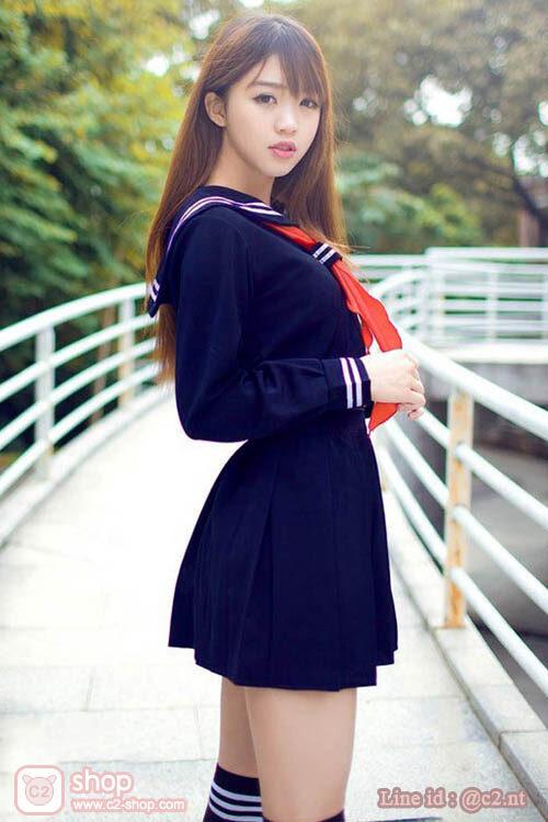 ชุดนักเรียนญีปุ่นแขนยาวสีกรมน้ำเงินผ้าผูกสีแดง