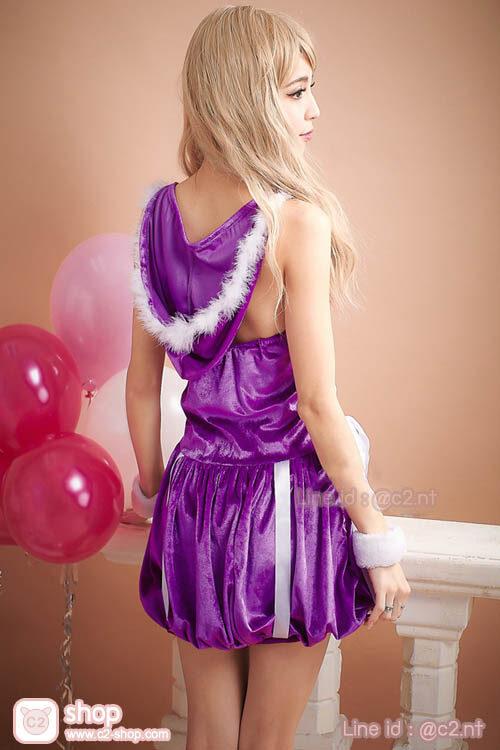 ชุดแซนตี้สีม่วงแฟนซีคอสเพลย์สุดน่ารักมาพร้อมหมวกฮู้ด